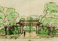 Watercolor sketch of gate and trees on yellowed paper