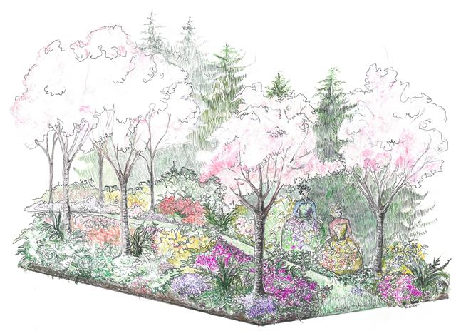 color-pencil sketch showing flowering shrub beds and pink-white flowering trees in a section/elevation of a shallow swale. Two women in long flowered frocks blend in with the flowering shrubs.