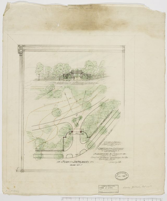 color-rendered pencil sketch showing plan and elevation of gateway design for Cowen Park