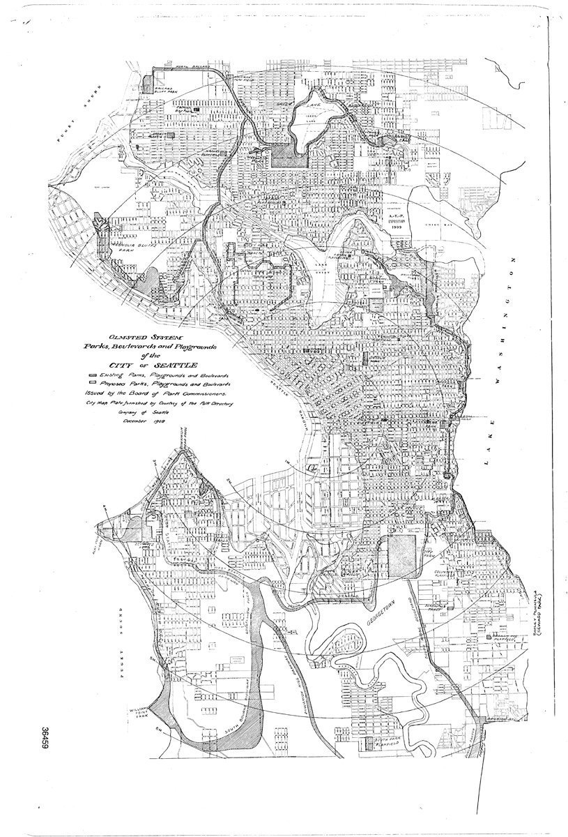 black and white line drawing map of Seattle in 1908, showing hatched areas for existing and proposed parks and boulevard or parkway swaths.