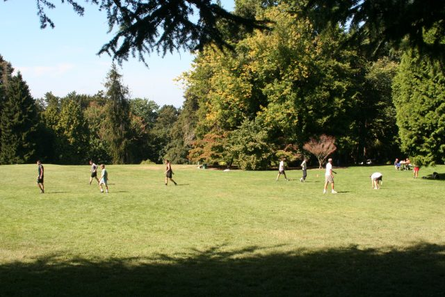 Color photo of several people walking across a broad lawn bordered by copses of large trees, on a sunny day.