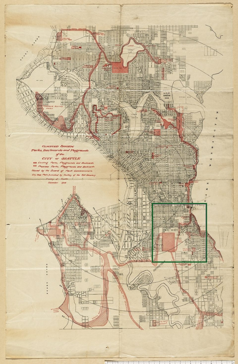 """Yellowed line drawn map of Seattle with sites and routes across the city hatched in red. Map is titled, """"Olmsted System, Parks, Boulevards and Playgrounds of the City of Seattle."""""""