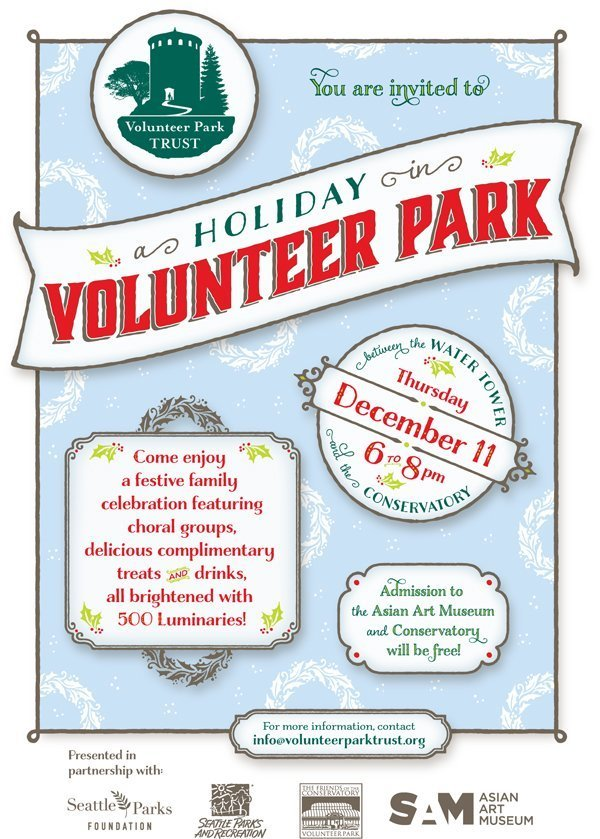 """poster illustration advertising """"a Holiday in Volunteer Park,"""" with further details, on a light blue textured background."""