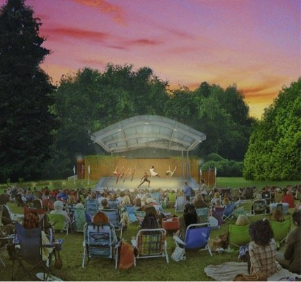 color illustration showing evening view of lit outdoor stage in distance with dancers leaping and posing. Tall trees are visible behind the stage. Foreground shows lawn covered with crowd of people sitting and looking at stage.