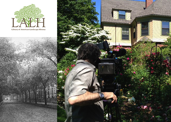 "collage of two photos and a logo reading ""LALH library of American Landscape History"" in upper left corner. Photo on left is black and white image of unpaved street with row of trees and rowhouses in background; image on right is color photo of man, back to camera, looking into film camera toward background of upper story of yellow house with tall flowering bushes in front."