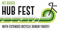 "Green, white and black logo incorporating bicycle wheel and musical notes. Text reads, ""Mt Baker Hub Fest with extended bicycle Sunday route!"""