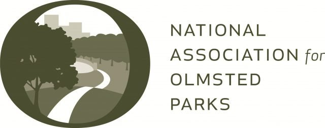 """Sepia-toned logo with illustration of winding park path framed inside an """"O"""" on the left and, on the right, text reading """"National Association for Olmsted Parks."""""""