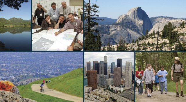 Collage of six photos arranged in two rows. From top left, images are: view across lake with wooded hills on distant shore; six adults looking over a map spread out on a large table; massive granite dome (Half Dome) with a tall vertical face; mid-distance view of mountain biker on wide dirt trail on grassy hillside; aerial view of city landscape with skyscrapers and freeway; several kids with park ranger talking and walking toward camera.