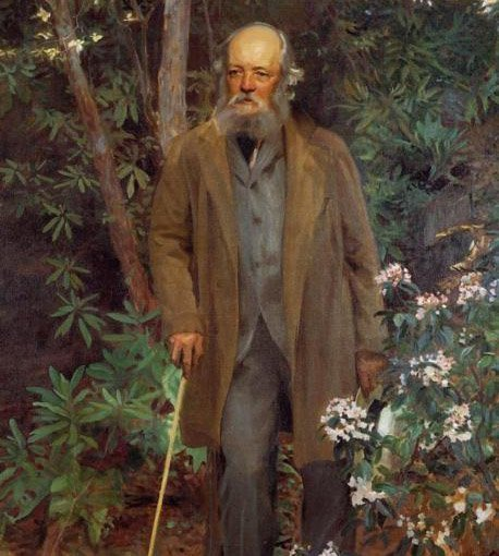 color image of painting by John Singer Sargent. Elderly gray-bearded man with cane and brown coat is walking/facing forward, flanked by flowering rhododendron shrubs and trees in a woodland garden setting.