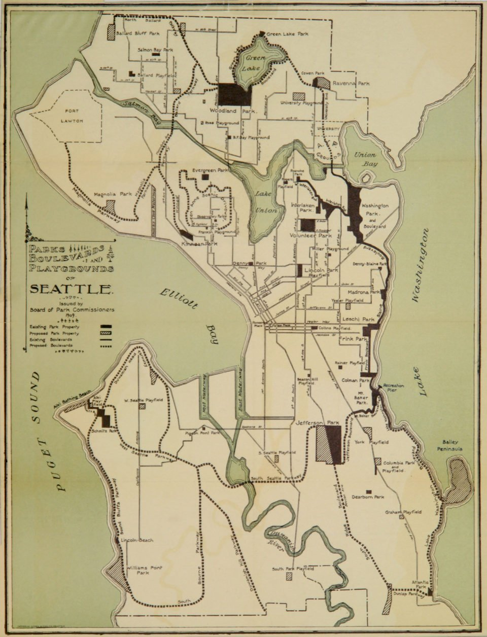 "Hand-drawn map of Seattle, titled ""Parks, Boulevards and Playgrounds of Seattle,"" issued by the board of park commissioners in 1909."