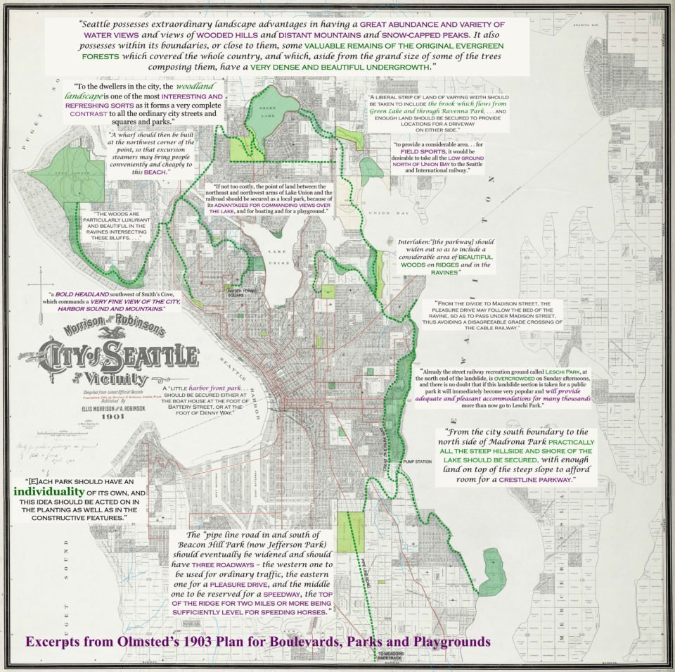 "Map of city of Seattle from the early 20th century, showing areas proposed for parks and routes proposed for boulevards, overlaid with quotes from the 1903 Olmsted report. Map is titled ""Excerpts from Olmsted's 1903 Plan for Boulevards, Parks and Playgrounds."""
