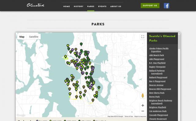 Screenshot of https://SeattleOlmsted.org/parks/
