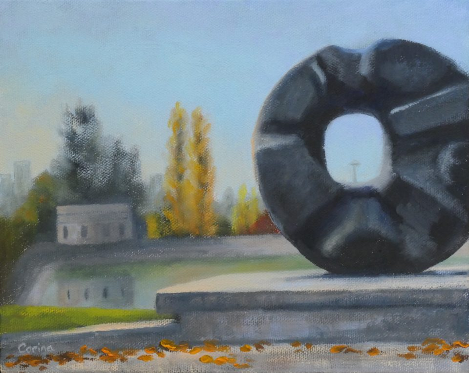 """painting of balck circular sculpture (""""Black Sun"""" by Isamu Noguchi) with trees and reservoir in background"""