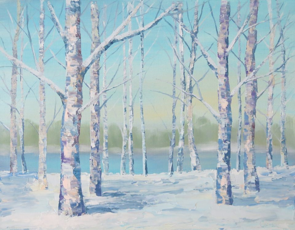painting of white-trunked trees in snow with water and sky in background