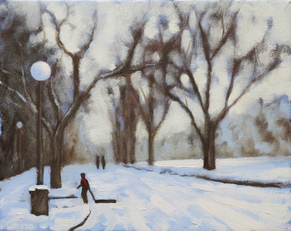 painting of snowscape with trees, roadway and person pulling sled