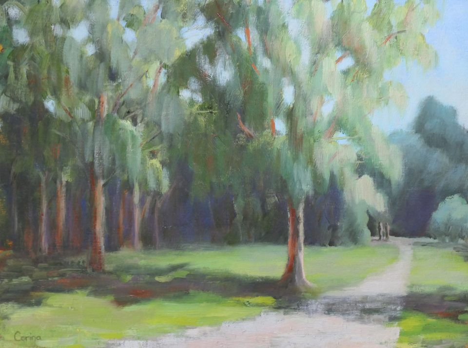 painting of trees and path in lawn