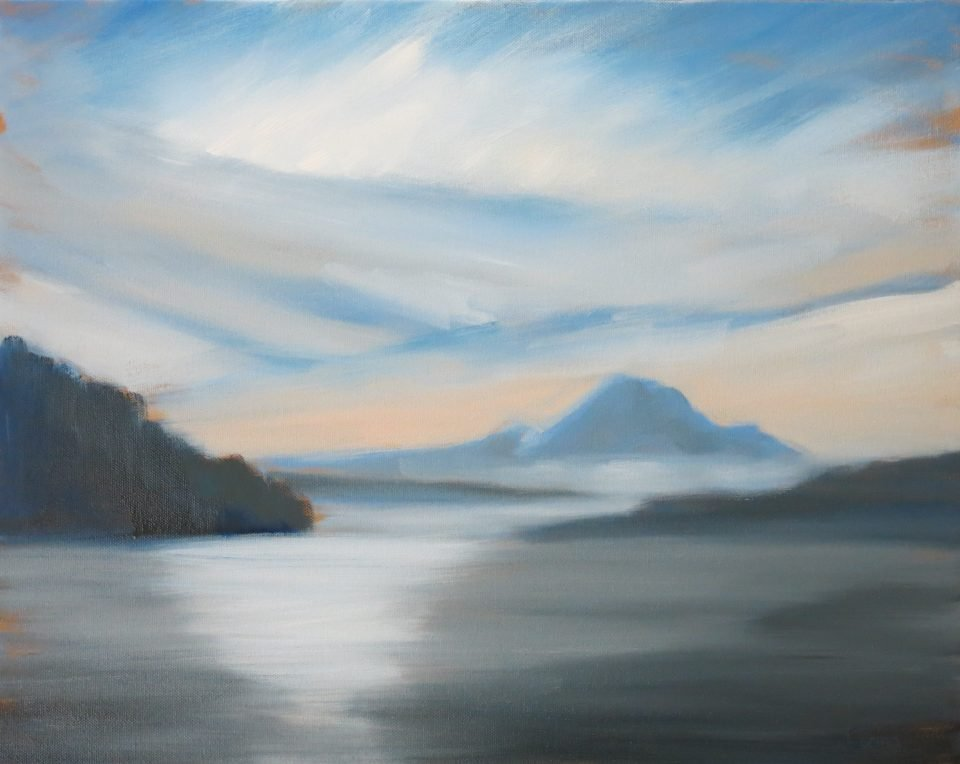 painting of view across water to distant snow-capped peak.