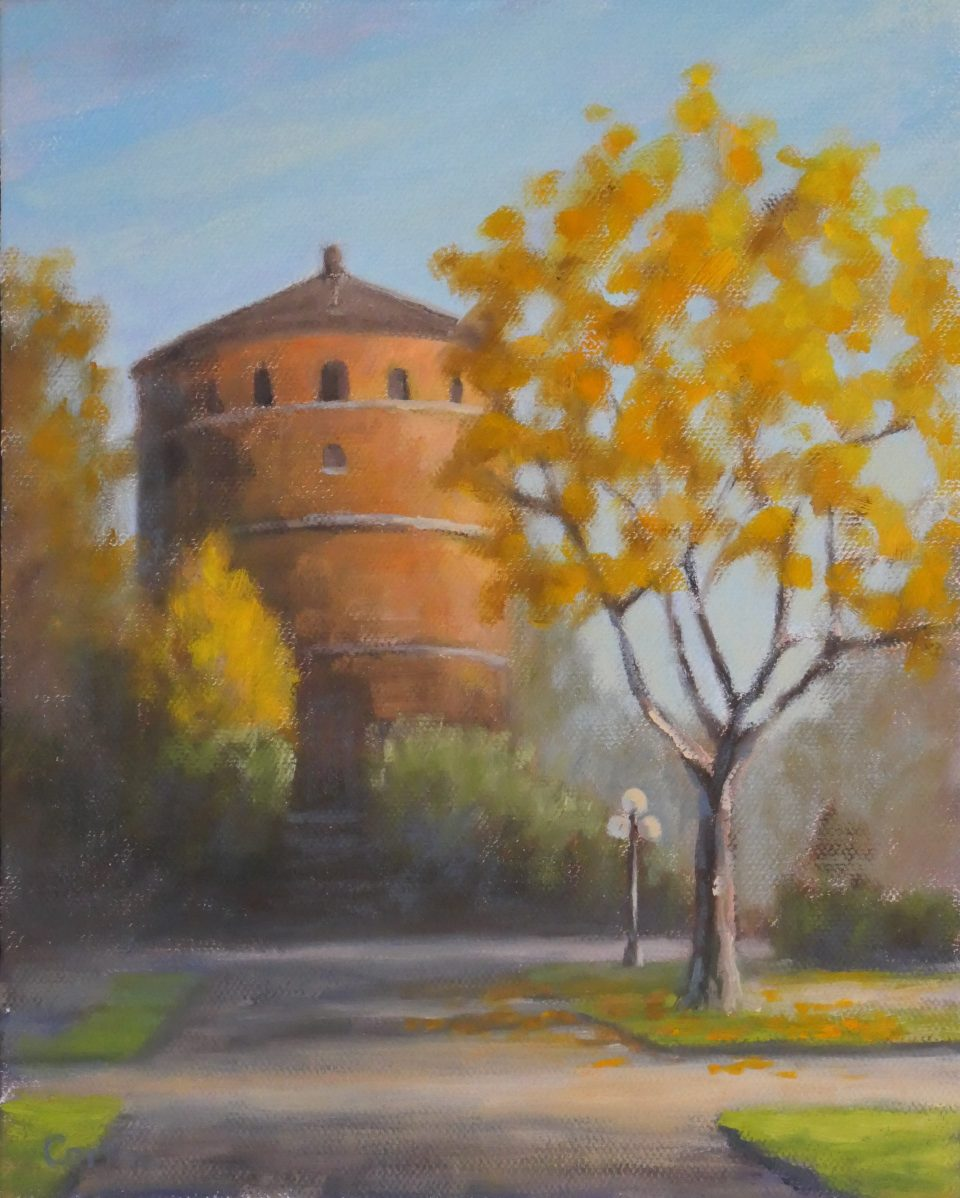 painting of circular brick tower surrounded by yellow fall foliage