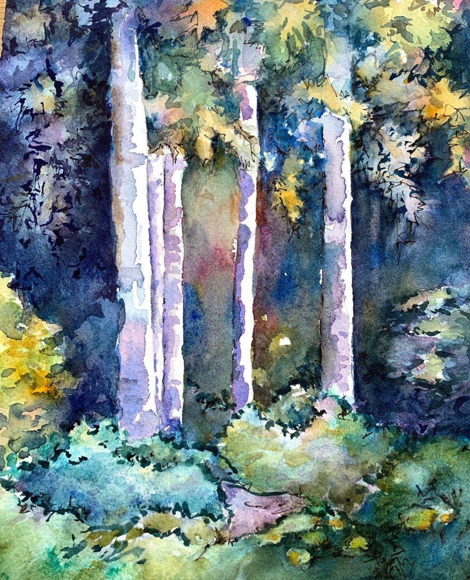 watercolor of white/blue/lavender tree trunks against dark background