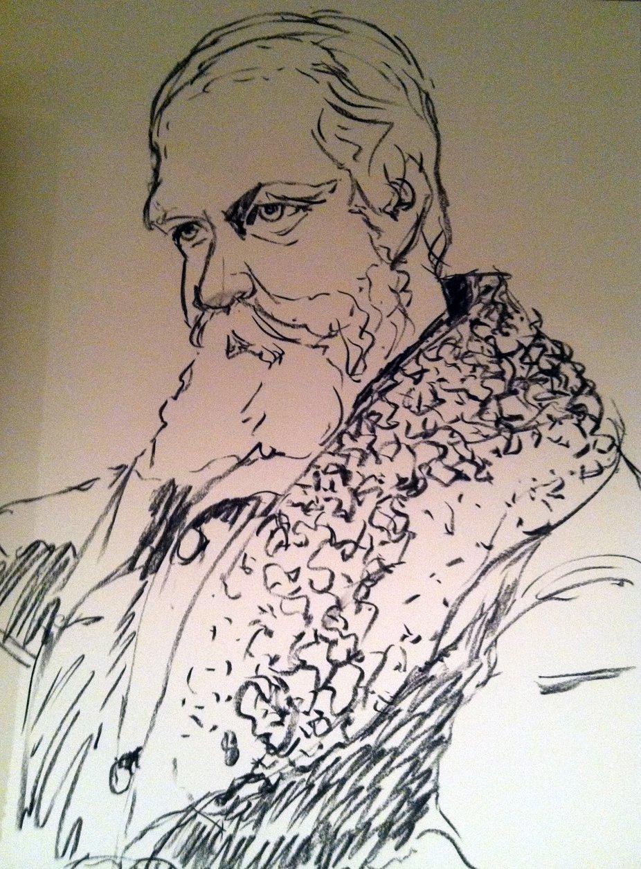 charcoal sketch of older man with beard, thoughtful gaze