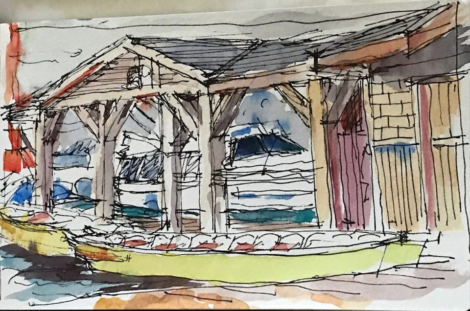 pen and watercolor sketch of wood frame structure on dock, boats in front.