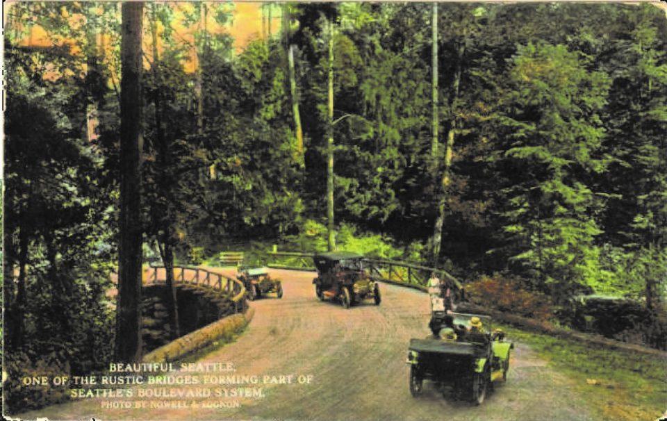 Historical photo showing rustic road bridge in Interlaken Park