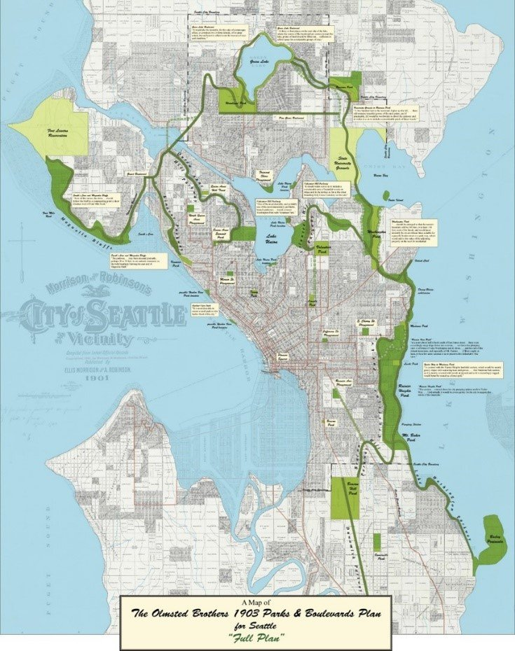 color map of Seattle showing proposed layout of parks and boulevards