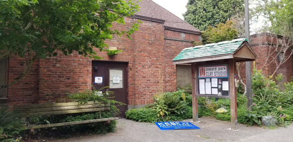 photo of clay studio showing front door and information kiosk