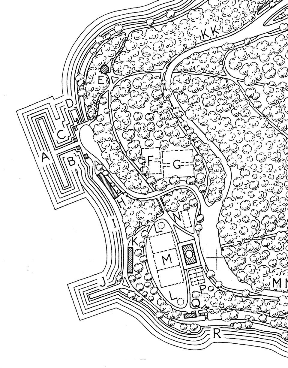 close-up of black and white plan drawing of Seward Park