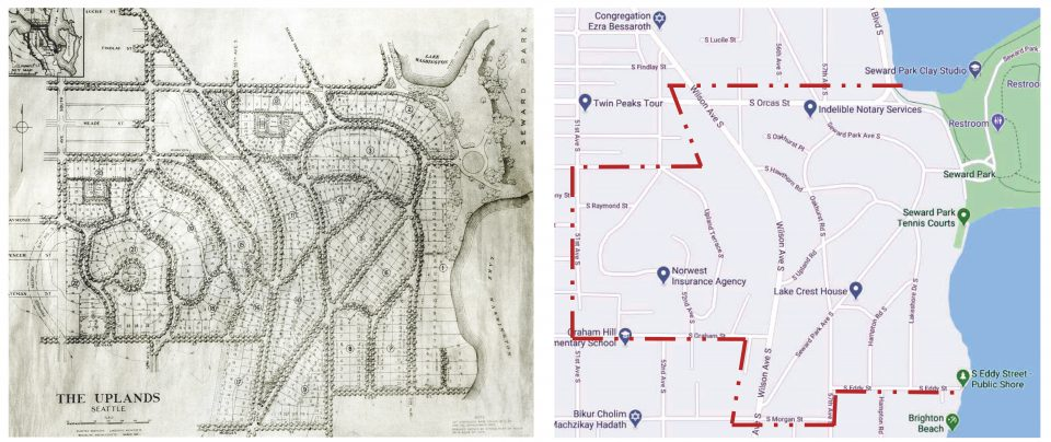 two maps of the Uplands side-by-side. Left image is 1924 plan drawing showing street layout and platted residential lots. Right image is Google map showing existing streets and outlining extents of the Uplands in red.