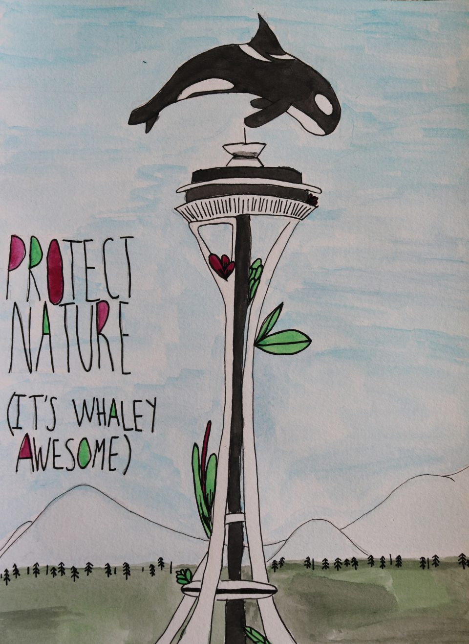 Protecting nature youth artwork, with an orca jumping over the Seattle Space Needle