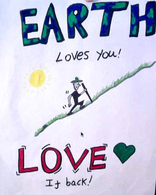 """Earth Loves You! Love It back! A hand drawn sketch of a person in a green hat walking up a hill in the hot sun. The word """"Earth"""" is filled with green and blue like the planet."""