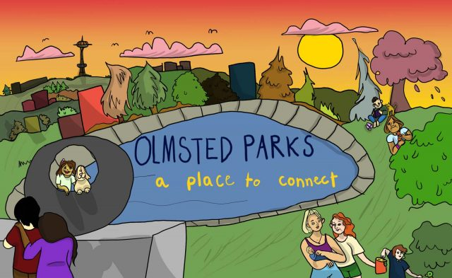 """Olmsted Parks - A place to connect. Computer illustration of people spending time in Volunteer Park, looking out at the city skyline with the space need. The sun is setting in a brilliant orange sky. A girl poses with her dog in the famous """"donut"""" sculpture, two women walk with children, and a few other people are sitting on the grass surroudning the resevoir enjoying the park."""
